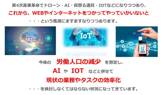第4次産業革命でドローン・AI・仮想る通貨・IOTなどになりつつあり、 これから、WEBやインターネットをつかってやっていかいないと ・・・という風潮にますますなりつつあります。 今後の労働人口の減少を想定し、 AIやネットなどと併せて 現状の業務やタスクの効率化 を検討しなくてはならない状況になってきています。